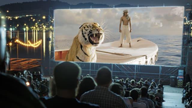 Openair-Kino am Alpenquai Luzern mit Leinwand und Zuschauerreihen.