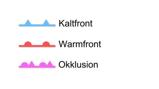 Blaue Kaltfront, Rote Warmfrontm, violette Okklusion.