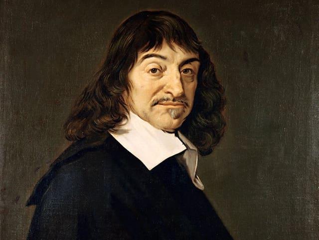 Das gemalte Porträt eines Mannes mit weissem Kragen und längeren, dunklen Haaren.