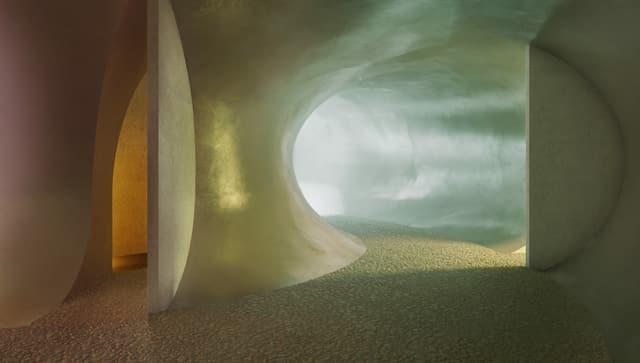 Die unterirdische Raumsequenz - lichtdurchflutet.