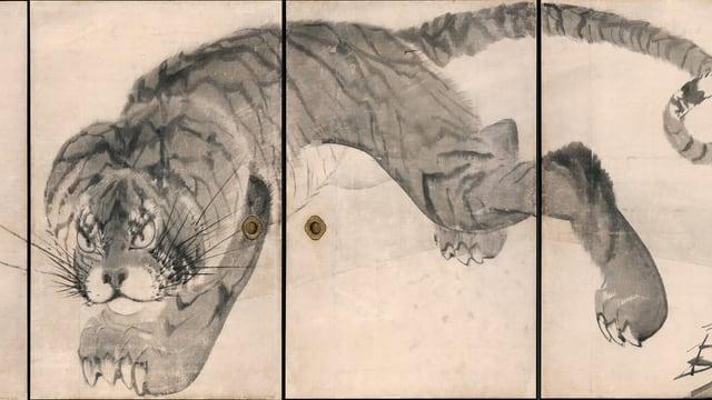 Tuschezeichnung mit imposantem Tiger
