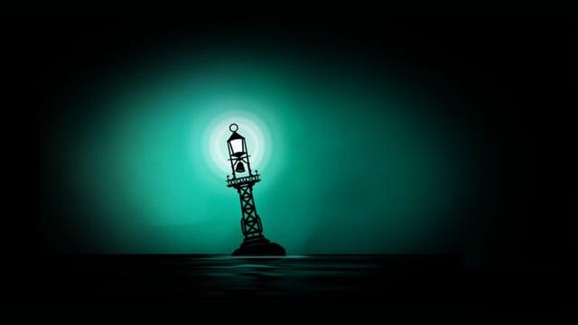 Eine Boje leuchtet einsam in dunkler See.