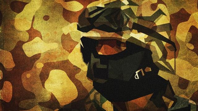 Kunstwerk, das hinter einem Camouflage-Muster schemenhaft einen Kopf zeigt.