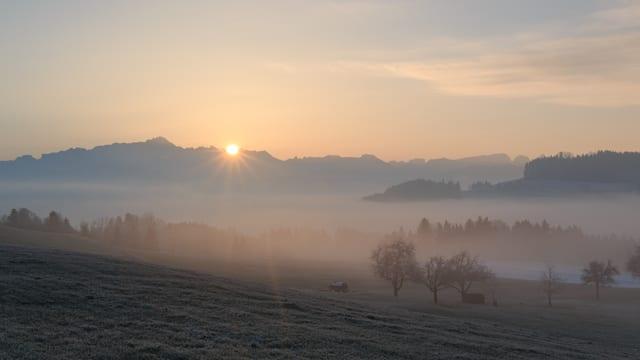 Die Sonne geht hinter den Bergen auf, über dem Tal liegen flache Nebelfelder.