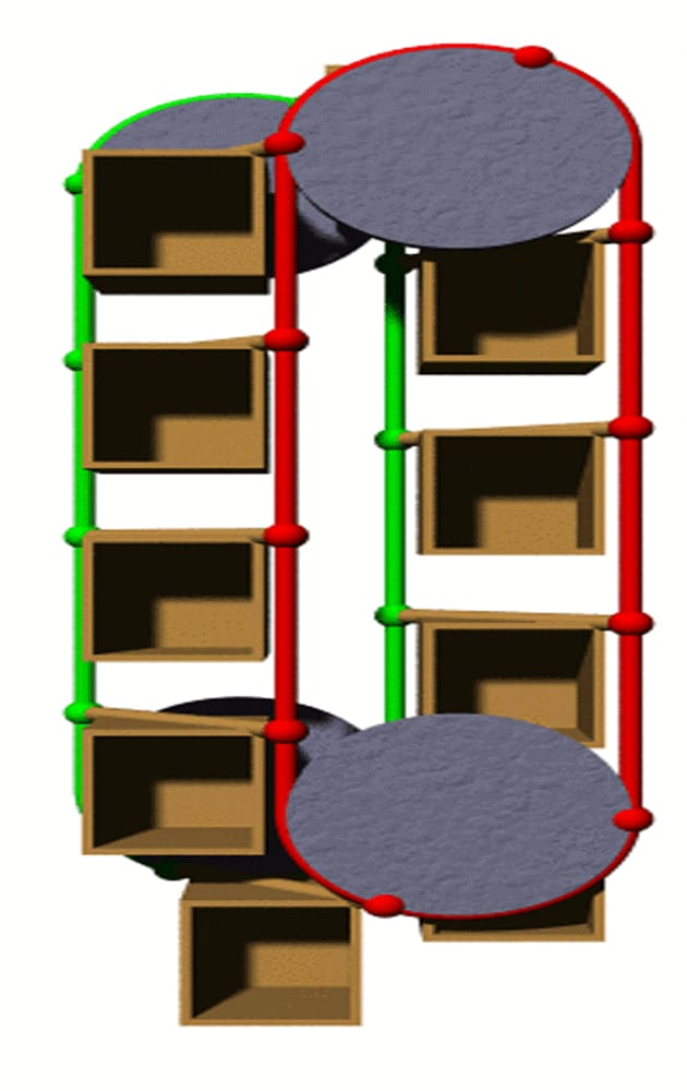 Animierte schematische Darstellung eines Paternosters