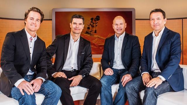 Kommentatoren und Experten Ski Alpin Herrenrennen: Marc Berthod, Stefan Hofmänner, Marc Girardelli, Dani Kern