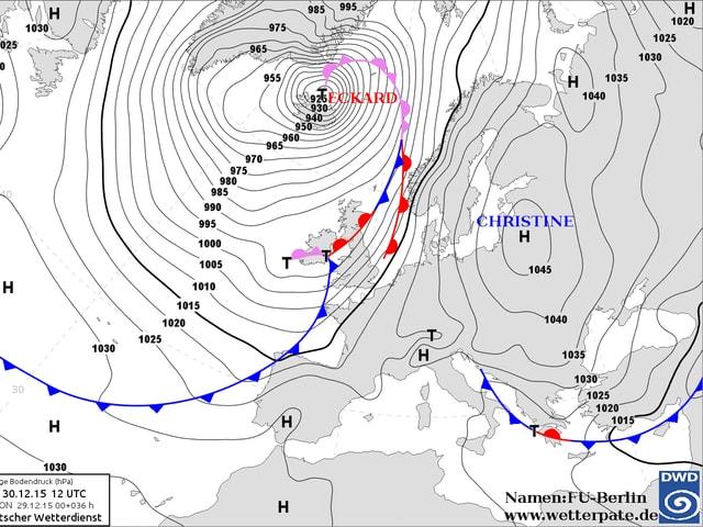 Eine Wetterkarte
