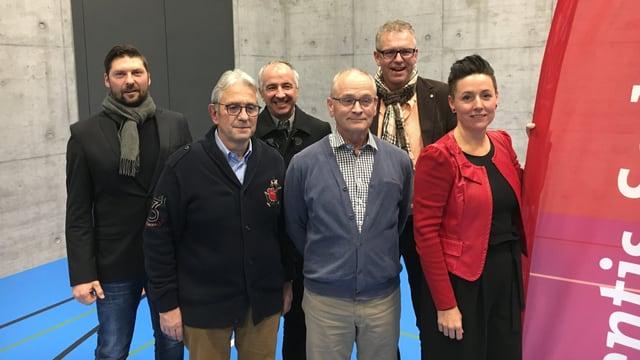 Iso Mazzetta, Silvio Bernasconi, Renato Decurtins, Robert Cajacob, Josi Russi, Corinne Staub (da sen, sin la foto manca Daniel Gygli).