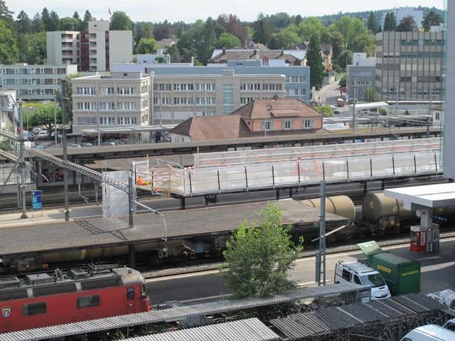 Baustelle Perrondach aus dem SRF Studio Aarau fotografiert.