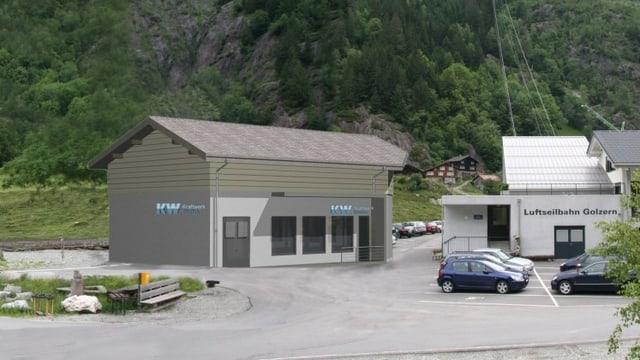 Beiges Haus vor einem Berg.