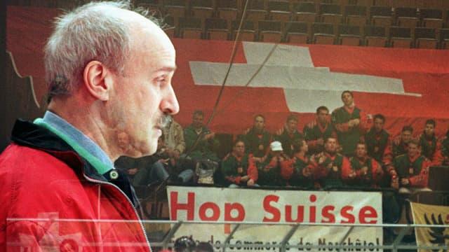 Simon Schenk vor Schweizer Fans (Doppelbelichtung)