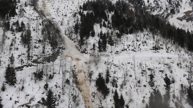 Eine Aufnahme der niedergegangenen Lawine aus der Luft.