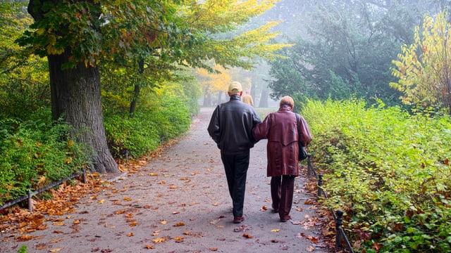 Ein älteres Paar spaziert durch einen Park