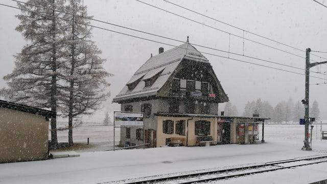Flockentanz beim Bahnhof Cavaglia.
