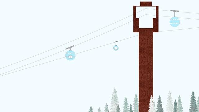 Pilaster da betun colurà brin nua che las cabinas van atras. Dasperas ina cabina d'urgenza.