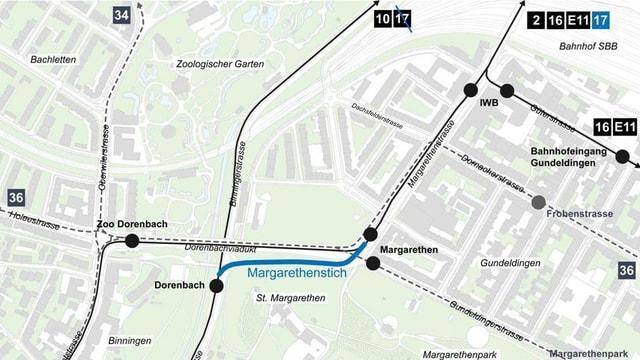 Eine Karte zeigt die Verbindung und die neue Linienführung.