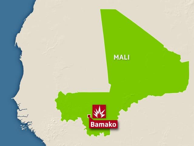 Karte, darauf eingezeichnet ist die Hauptstadt Bamako