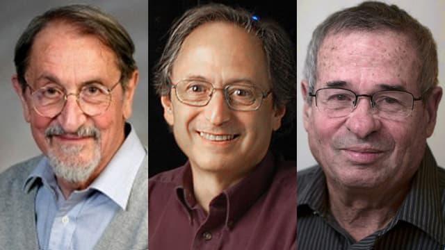 Martin Karplus (links), Michael Levitt (Mitte), und Arieh Warshel (rechts).