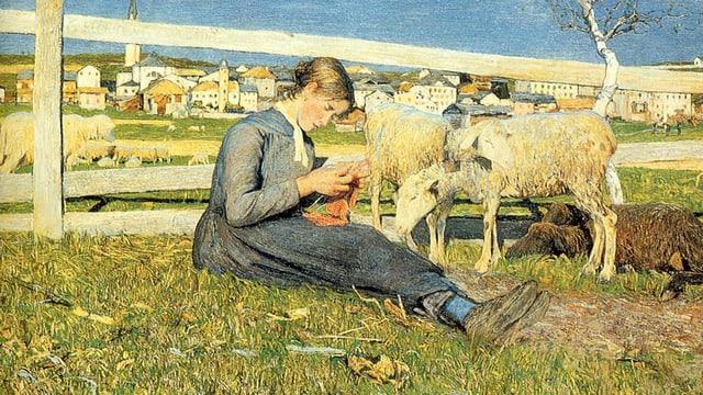 Ein Bauernmädchen sitzt auf einer Wiese, strickend, neben ihm zwei Schafe.