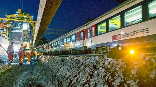 Zug fährt an Baustelle vorbei.