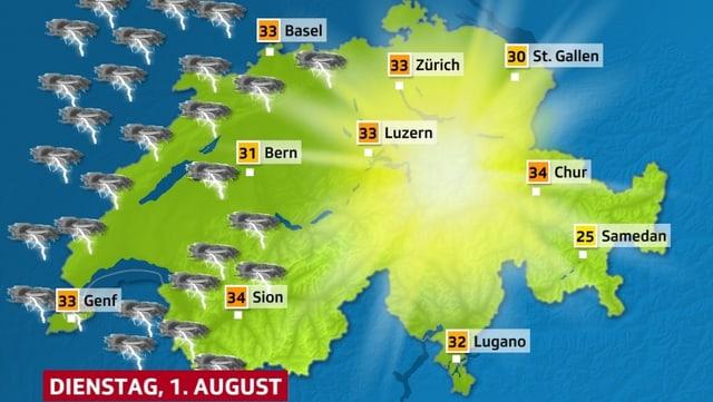 Schweizer Karte mit Wettersymbolen
