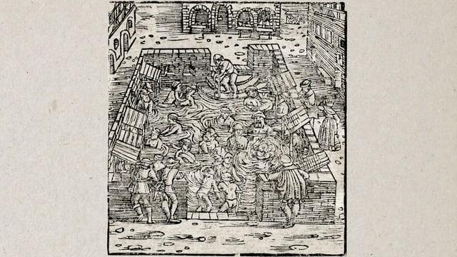 Alter Holzschnitt: Menschen in einem grossen Bad.