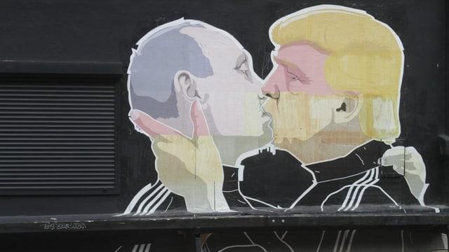 caricaturas da Trump e Putin