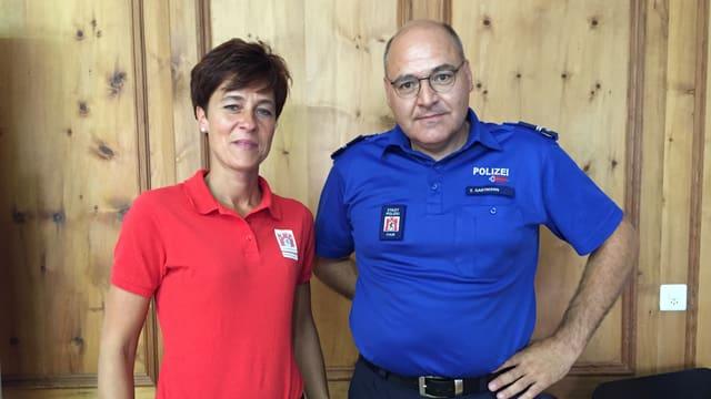 Andrea Thür, presidenta dal comité d'organisaziun ed Emil Gartmann da la polizia da la citad.