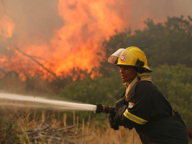 Ein Feuerwehrmann kämpft gegen die Flammen.