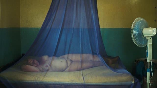 In einer wie ein durchorganisiertes Tableau wirkenden Einstellung liegt die Hauptfigur Teresa nackt unter einem Moskitonetz.