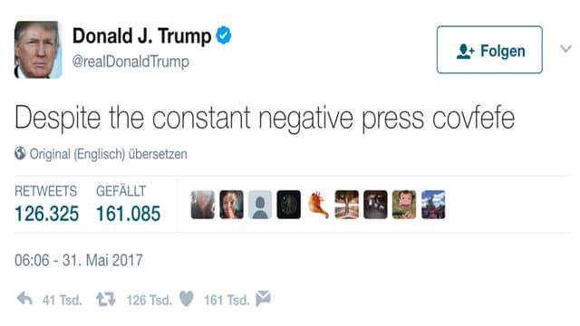 """Ein Screenshot von Trumps berühmten """"Covfefe""""-Tweets"""