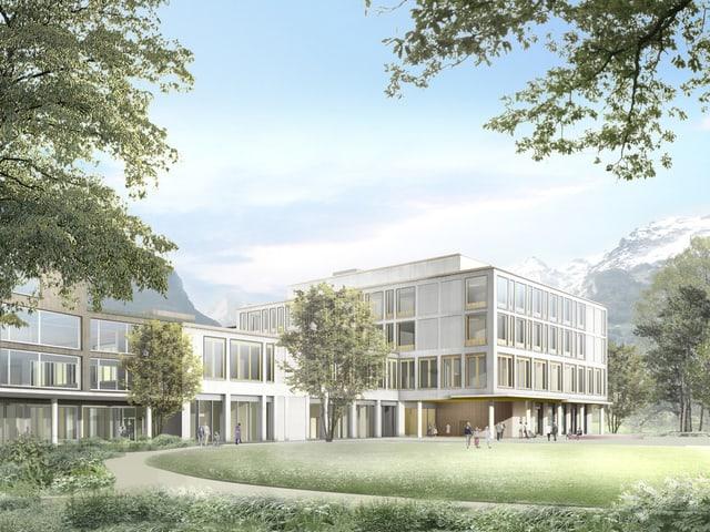 Eine Visualisierung des vierstöckigen Neubaus mit Park im Vordergrund.