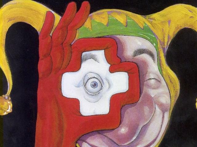 Zeichung: Mann mit Narrenkappe bildet mit seinen Fingern ein Schweizerkreuz.