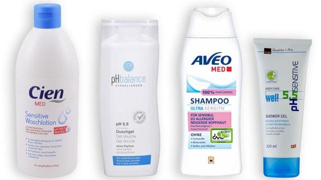 Vier Duschmittel