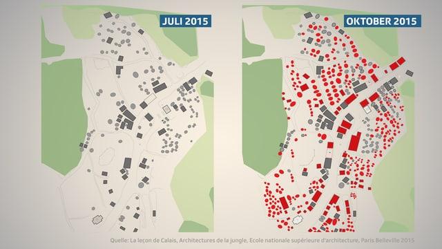 Plan von Flüchtlinscamp: links im Juli, rechts im Oktober 2015