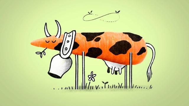 Zeichnung: Über das Bild einer Karotte ist eine Kuh gezeichnet.
