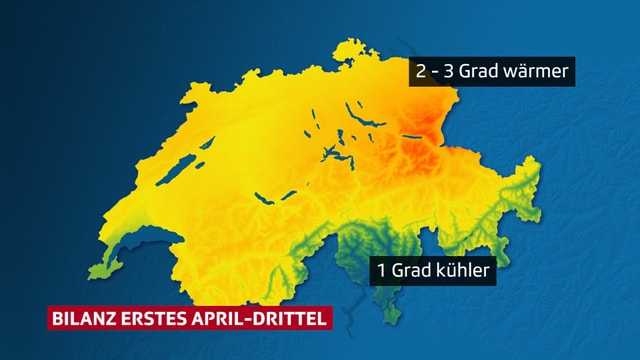 Karte der Schweiz mit der Temperaturabweichung. Im Norden gelb und orange für zu warm, im Süden grün für etwas zu kalt.