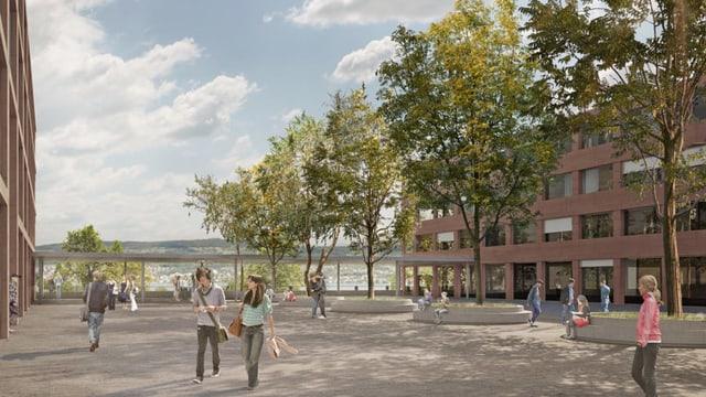 Visualisierung der geplanten Kantonsschule im Au-Park in Wädenswil