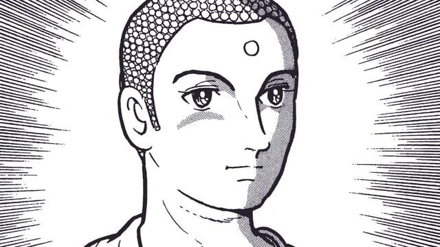Buddha in schwarzweiss gezeichnet mit Strahlenkranz.