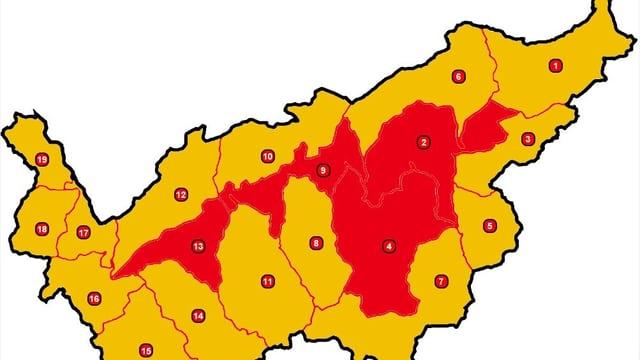 Walliser Karte mit Waldbrandgefahr-Regionen