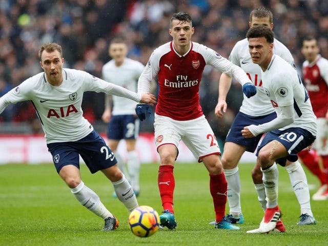 Arsenals Granit Xhaka im Spiel gegen Tottenham