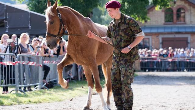 Ein Soldat führt ein Pferd durch eine Arena.