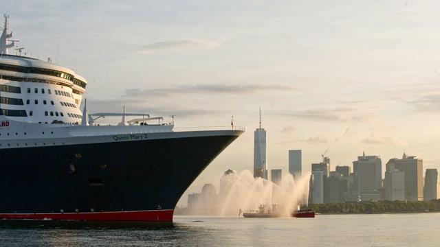 Ein grosses Kreuzfahrtschiff. Im Hintergrund sind Wolkenkratzer zu sehen.
