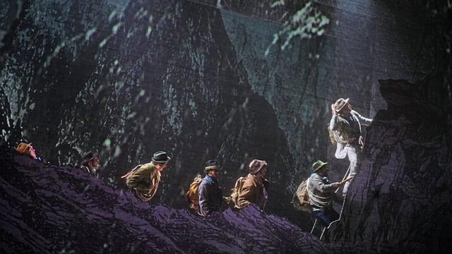 Die Siebner-Seilschaft mit Oedo Kuipers als Edward Whymper an der Spitze.