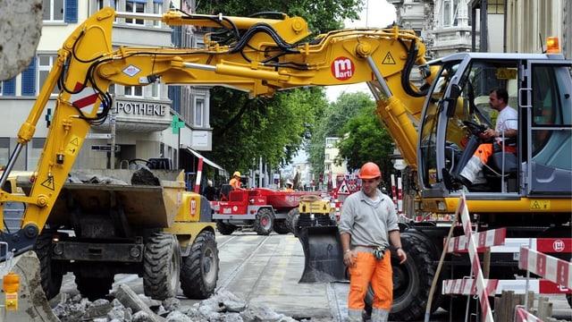 Baustelle mit Bagger und Bauarbeiter