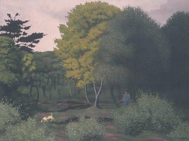 Ölgemälde, Jäger mit Flinte und Hund im Wald