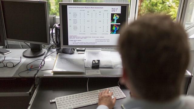 Ein Arzt sitzt vor einem Computer.