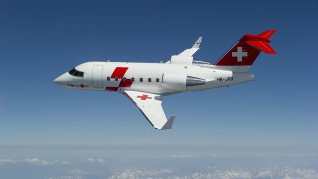 Bombardier Challenger 604 der Rega im Flug.