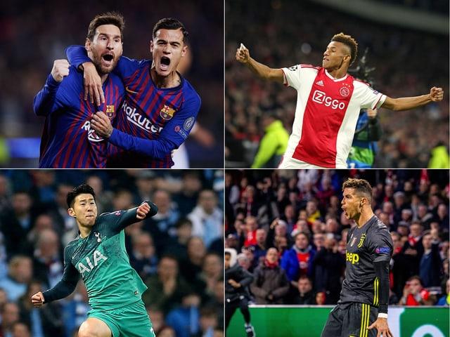 Messi, Coutinho, Neres, Ronaldo, Son (im Uhrzeigersinn v.o.l.)