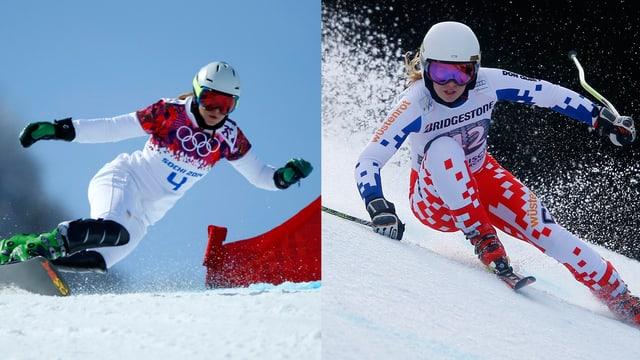 Ein zweigeteiltes Bild mit Ester Ledecka, auf der linken Seite auf dem Snowboard, recht als Skifahrerin.
